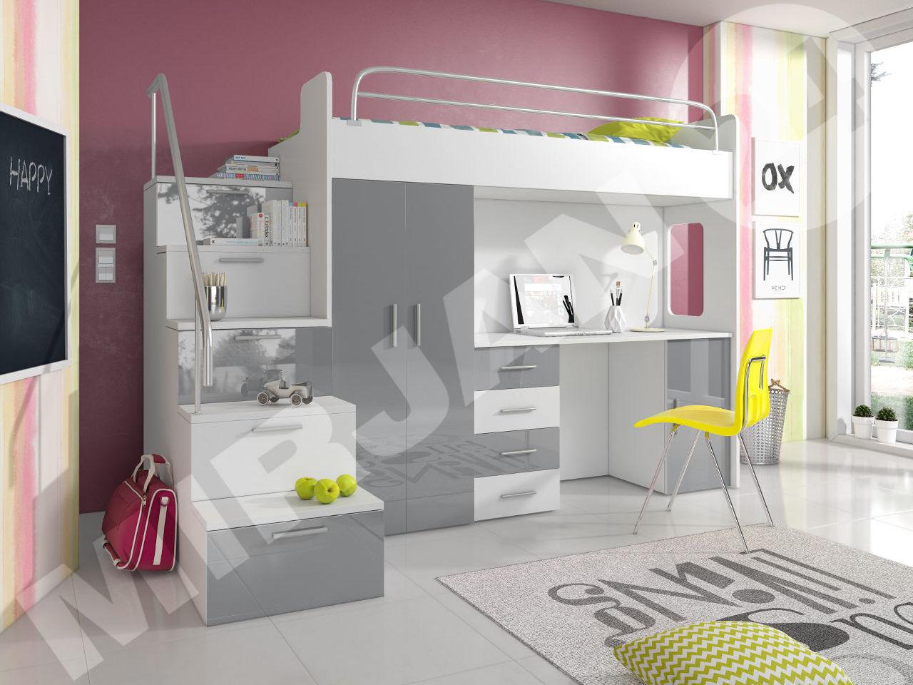 Hochbett Etagenbett Multimo 4s Kinderbett mit Schreibtisch und ...