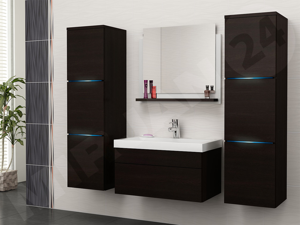 Details zu Badezimmer Carlotta 5tlg. Badmöbel Set mit Waschbecken ...