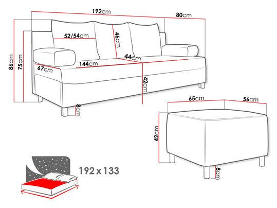 kanapa rozkładana - wymiary